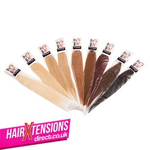 18 Inch Nail-Tip Hair Extensions (25 strands of Bright Red)